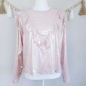 ASOS | Pink Metallic Ruffle Top | 10 Long Sleeve